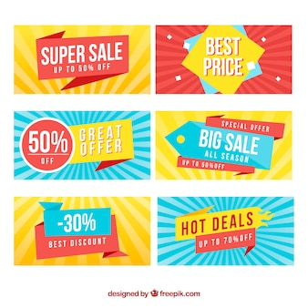 Sale banners collection in flat style