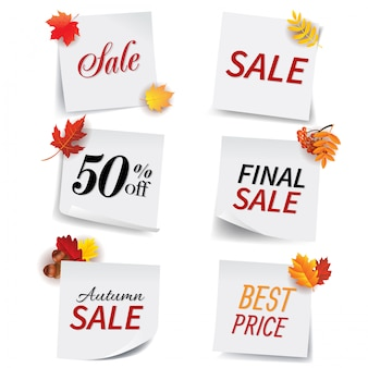 Sale banners collection of white sticky notes
