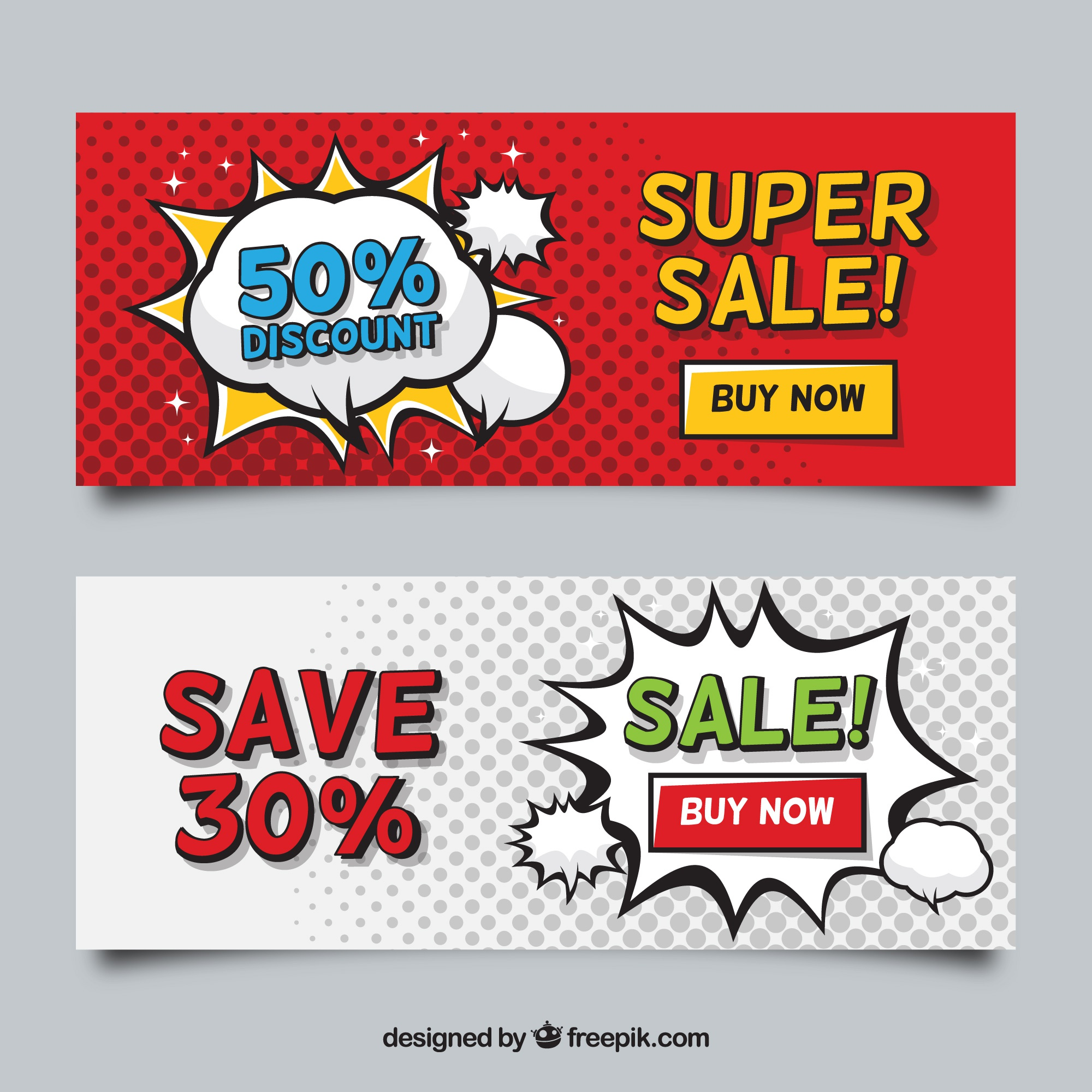Sale banners in comic style
