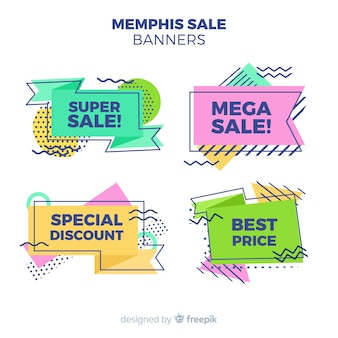 Sale banners in memphis style