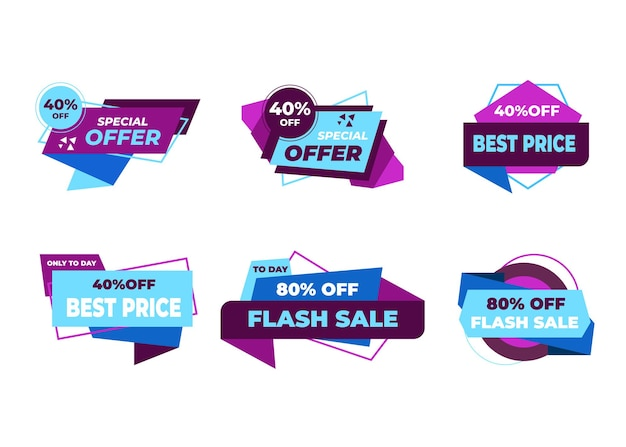 Sale banners and price tag labels, selling card and discount sticker.