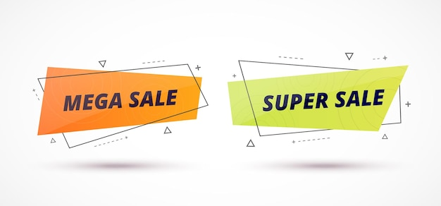 販売バナーは、プロモーション テキストで幾何学的形状を設定します。