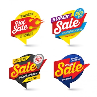 Sale banners template, hot, fire, lightning bubbles