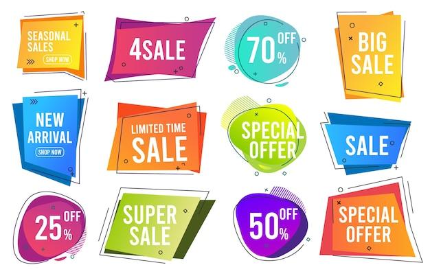 Продажа баннеров. модные цветные современные линейные баннеры, промо-этикетки, снижают цены на коллекцию шаблонов. распродажа и ценовая скидка, иллюстрация значка лучшего предложения