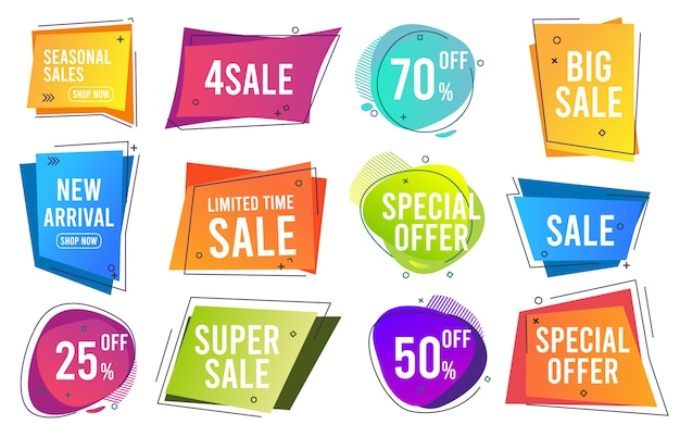 Sale banners. trendy color modern line banners promo labels drop prices template collection. sale and price discount, best offer icon illustration
