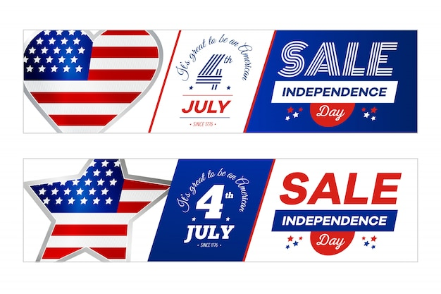 白い背景の上のアメリカの国旗と販売バナー。 7月4日