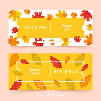 Sale banners with autumn leaf