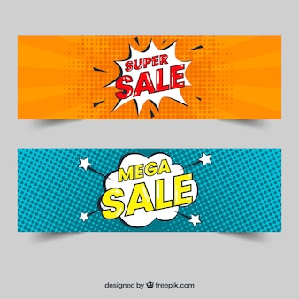 Sale banners with comic style