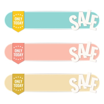 Sale banners with discount labels bent. template design.
