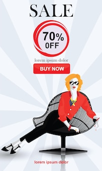 Sale banners with fashion woman in style pop art