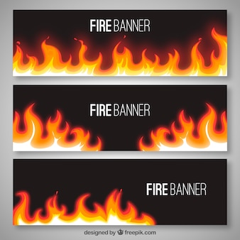 Sale banners with fire