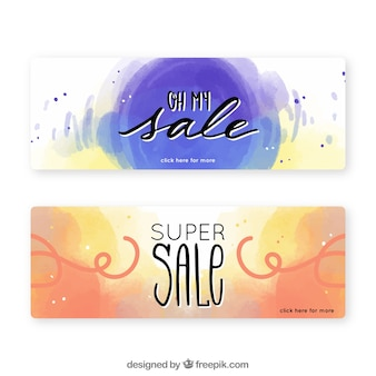 Sale banners with watercolor style