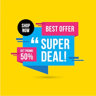 Sale bannersuper deal sale banner template design, big sale special offer. end of season special offer banner. abstract promotion graphic element.
