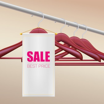 Sale best price. clothes hanger on racks. white tag.