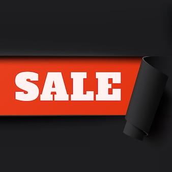 販売、黒と赤の破れた紙の背景。パンフレット、ポスターまたはチラシのテンプレート。