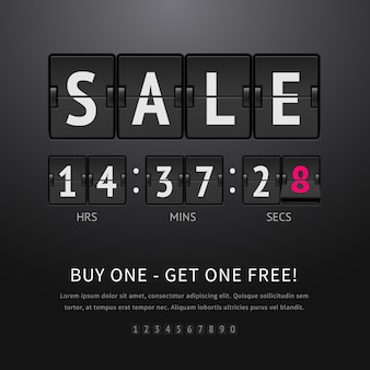 Sale. black flip clock with sale text and timer, analog scoreboard on dark background.  illustration of flip countdown timer to promotion and advertising