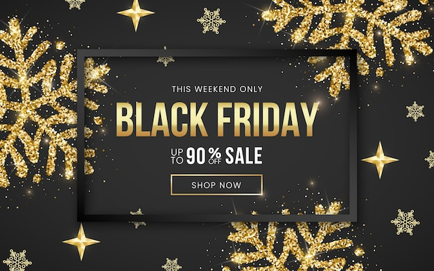 Sale black friday banner 90 percent off, black frame and golden glitter textured snowflake