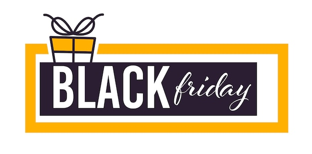 Sale on black friday, banner with present box and ribbon, calligraphy text. isolated icon in form of chatting box. shopping using special promotions and discounts, business promo vector in flat