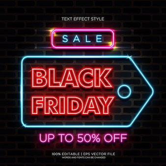 Sale black friday neon text effects
