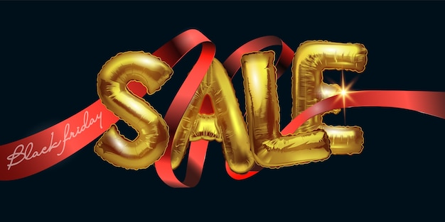 Sale. black friday sale background with metal foil balloons on a dark background. the shiny gold letters sale intersect with a red ribbon.modern design.universal background for posters, banners