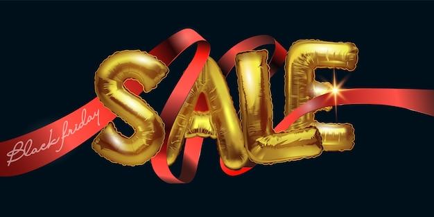 Распродажа. черная пятница продажа фон с воздушными шарами из металлической фольги на темном фоне. продажа блестящих золотых букв пересекается с красной лентой. современный дизайн. универсальный фон для плакатов, баннеров.