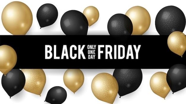 Sale black friday. shopping discount banner template. trade special prices, promotional ads poster design realistic gold balloons. web marketing vector illustration. black friday sale and discount