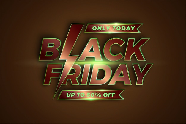 Распродажа черная пятница с эффектом металлической темы. бронзово-зеленый цвет. продвижение шаблона баннера