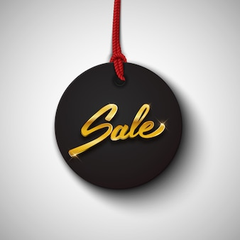 Sale black tag or label with gold text