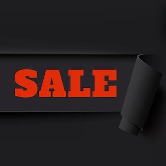 販売、黒い破れた紙の背景。パンフレット、ポスター、チラシのテンプレート。