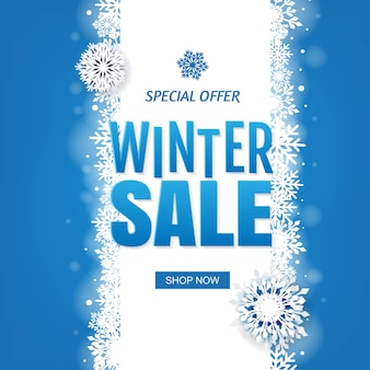 Sale blue winter banner with white snowflakes