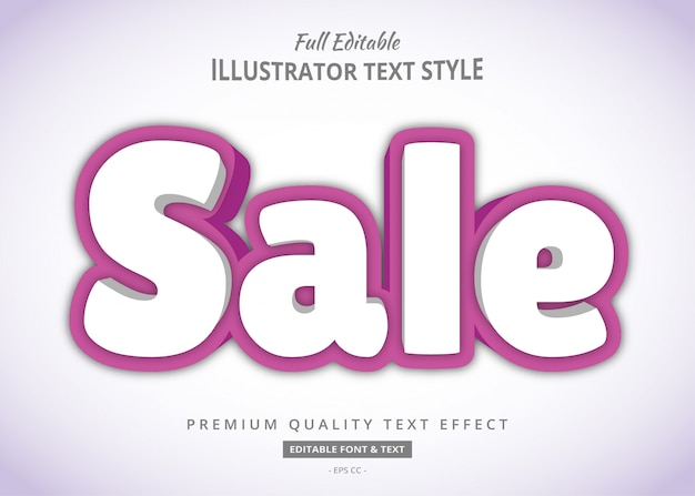 Sale bold 3d text style effect
