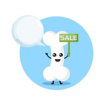 Продажа кости талисман персонаж логотип