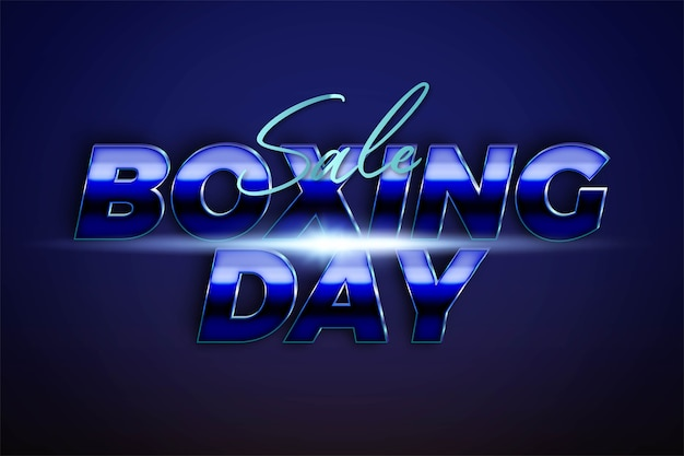 Sale boxing day with metallic silver azure color concept for trendy flayer and banner template promotion social media online