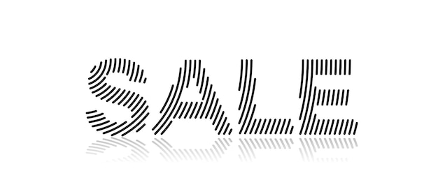 Sale calligraphic line art text shopping poster vector illustration design.