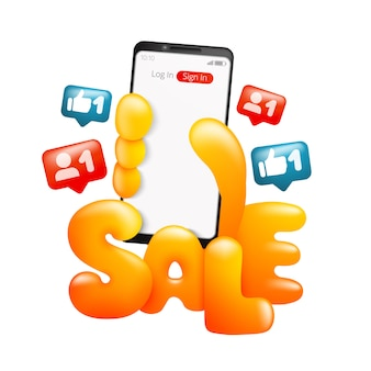 Sale card template with cartoon yellow hand holding smart phone. online shopping.