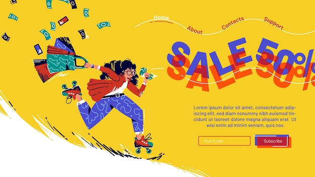 Sale cartoon landing page with running girl on rolling skates