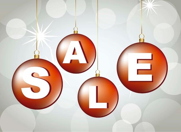 Sale christmas balls over gray background vector illustration