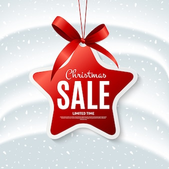 Sale christmas banner template with label shape