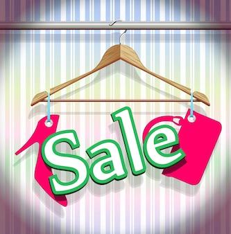 Распродажа вешалки для одежды в красивом векторе