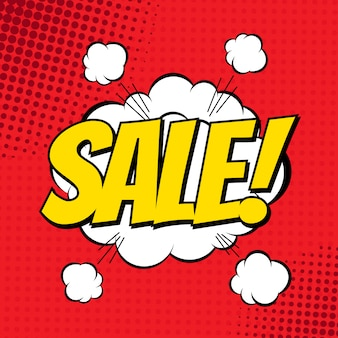 Sale comic book banner. explosion cloud. vector illustration