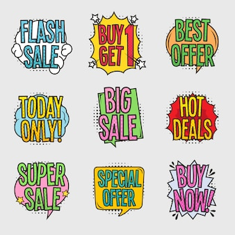Sale comic bubbles set