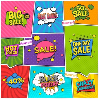 Sale comic page design with discount symbols flat isolated vector illustration