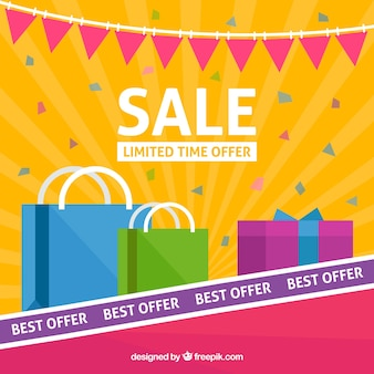 Sale composition wih colorful style