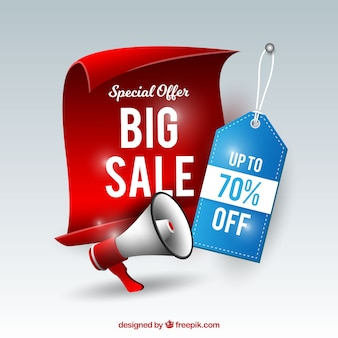 Sale composition with realistic label and megaphone