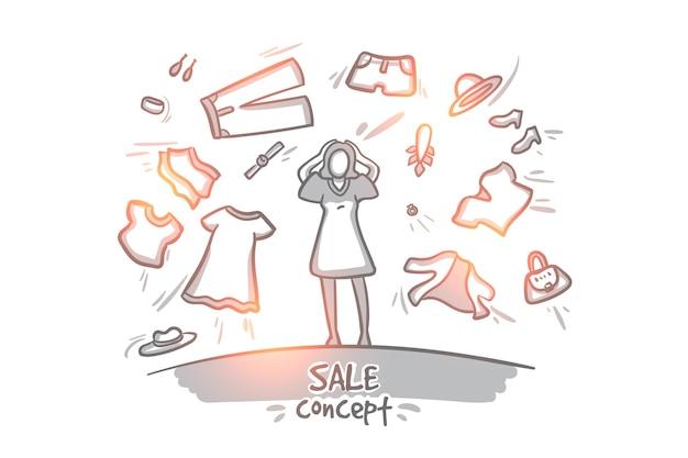 판매 개념. 손으로 그린 옷 쇼핑 행복 한 여자. 고립 된 계절 판매
