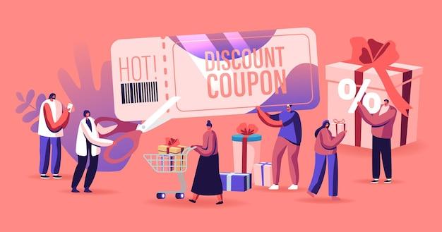 Концепция продажи. счастливые люди шоппинг отдых. мультфильм плоский иллюстрация