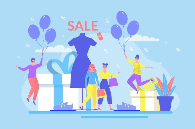 販売コンセプト、ベクトルイラスト。小売店のデザインで幸せな小さなフラットな男性の女性のキャラクター、人々は割引、洋服店のプロモーションでギフトを購入します。現在の箱の近くの顧客は、風船を持っています。