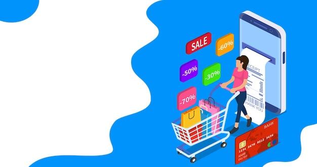 販売、消費主義および人々の概念。若い女性のオンラインショップランディングページテンプレート。 3dアイソメトリック。フラットスタイルのベクトルイラスト。