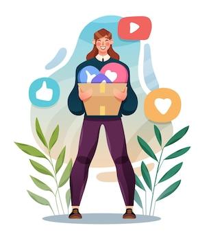 판매, 소비 및 사람 개념입니다. 온라인 쇼핑 하는 젊은 여자. 벡터 일러스트 레이 션.