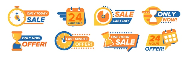 Sale countdown stickers set